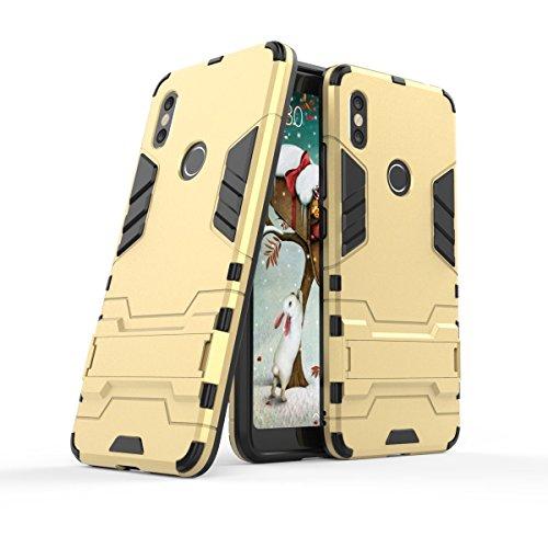 GoodcAcy Funda Xiaomi Redmi S2 con Soporte 2in1 Duro PC Suave TPU Silicona Caso Cover con[Pantalla de Vidrio Templado] Armadura Carcasa Case Fundas para Xiaomi Redmi S2 Dorado
