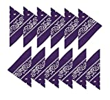 BOOLAVARD 100% Baumwolle, 1er 6er, oder 12er Pack Bandanas mit original Paisley Muster | Farbe nach Wahl Headwear / Haar Schal Ansatz Handgelenk Verpackungs Band Kopf Bindung (12er Dunkelviolett)