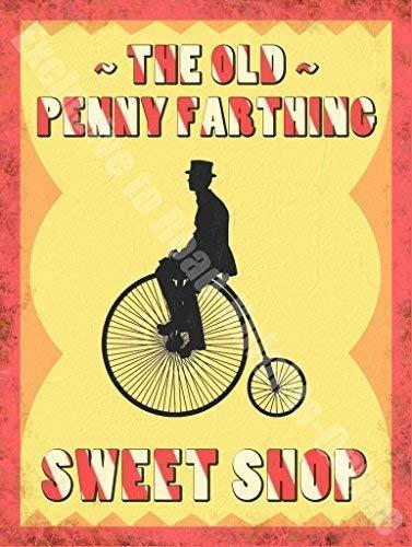 Penny Farthing Sweet Shop Plateau Peep Toe Werbung aus Metall/Stahl Wandschild, stahl, 9 x 6.5 cm (Magnet) Steel Toe 9