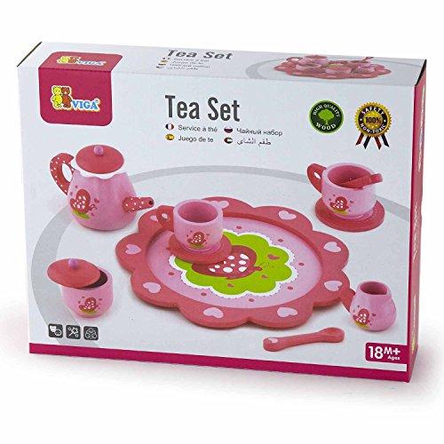 Viga Pink Butterflies Wooden Tea Set