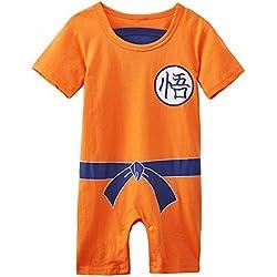 Ropa para bebé, diseño súper heroe DBZ, body pijama para niños disfraz Goku, disfraz original y divertido, 100 % algodón. Talla:19-24 mois