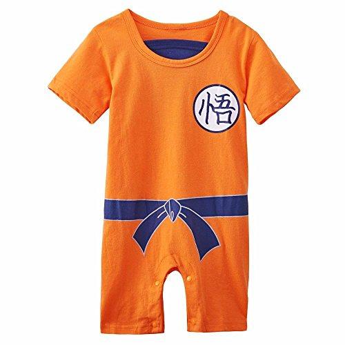Ropa para bebé, diseño súper heroe DBZ, body pijama para niños disfraz Goku, disfraz original y divertido, 100 % algodón. Talla:3 a 6 meses