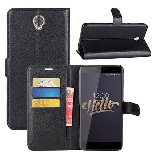HualuBro Cubot Max Hülle, [All Around Schutz] Premium PU Leder Leather Wallet HandyHülle Tasche Schutzhülle Case Flip Cover mit Karten Slot für Cubot Max 6.0 Inch Smartphone (Schwarz)