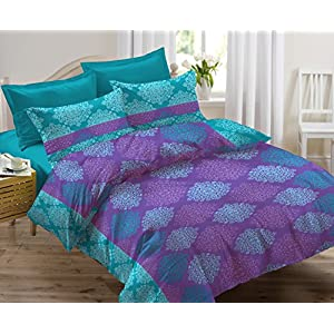 Ahmedabad Cotton 136 TC Cotton Double Bedsheet with 2 Pillow Covers – Abstract (Green)