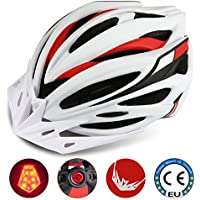 Leadfas Cycle/Bike Helmet, CE Certified Lightweight Bicycle Helmet With Led Safety Light Detachable Visor and Liner for Men & Women Safety Protection