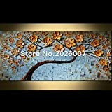 Hohe Qualität handbemalt Landschaft abstrakt Palette Mohn Original Afternoon Landschaft Wandbild Ölgemälde House Living Room Art, canvas, 24x48inch(60x120cm)