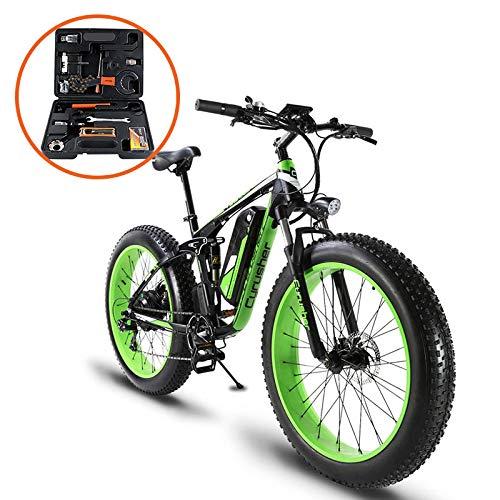 Extrbici XF800 1000W 48V 13AH Bicicleta eléctrica 26 'Marco de aleación Suspensión Completa 7 Velocidades Shimano 5 Configuración de Smart...