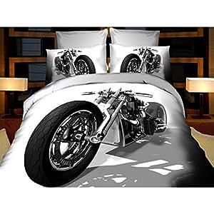 3d impression photo housse de couette parure de lit double 6 pi ces moto 1. Black Bedroom Furniture Sets. Home Design Ideas