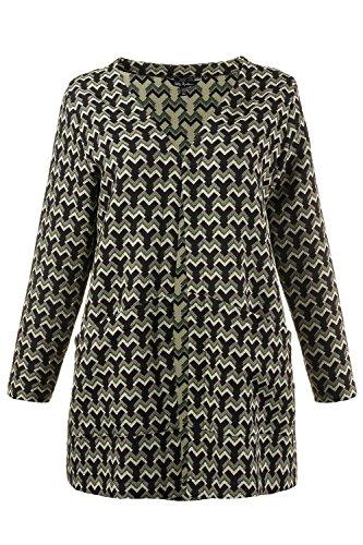 Ulla Popken Femme Grandes tailles Veste chic imprimée graphique Blazer 706113 Multicolore