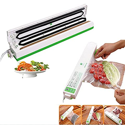 Dax-Hub Mini Vacuum Sealer automatic small home vacuum sealing machine for food packaging Food Sealer with magnet sucker heat set thin kitchen machine keeping Freshness for meat fruit and much more come with Sealing Bags pouches for food packaging ( Green Vacuum Sealer + 15-Pack Sealer