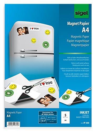 Sigel IP440 bedruckbares Magnet-Papier / Magnetfolie für InkJet, A4, 5 Blatt, weiß
