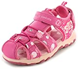 New Younger Girls/Childrens Pink Touch Fastening Adventure Sandals. - Pink - UK