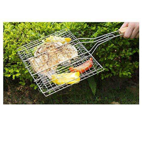 513Z141cn6L - B & C. Raum 304 Edelstahl Grillkorb Drahtgitter Für Fisch Steak BBQ Grill Zubehör Mit Holzgriff silber