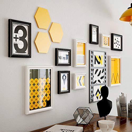 Cxmm 10 Multi Bilderrahmen Set Industrial Style Holzrahmen Modern Minimalist Photo Frames Wand Fotowand (Farbe: Weiß + Schwarz)