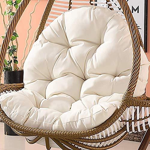 MSM Wasserdicht Hängen Sitzkissen, Swing Chair Wicker Hängematte Weben Ei Pad, Balkontür Terrasse Garten-ohne Stand-weiß 120x86cm(47x34inch) -