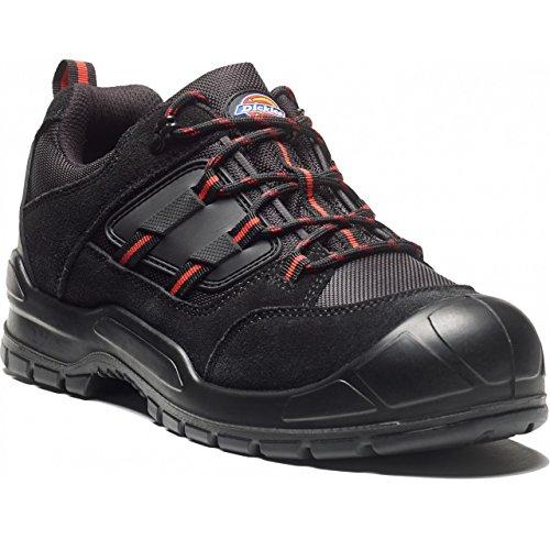 Dickies Everyday, scarpe da uomo di sicurezza, punta in acciaio e tacco anti-abrasione Black/Red