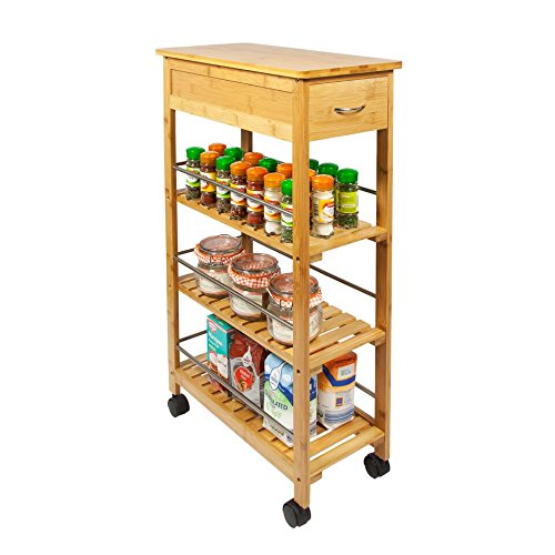 Beau Woodluv Slimline Bamboo Kitchen Islands Storage Trolley Cart