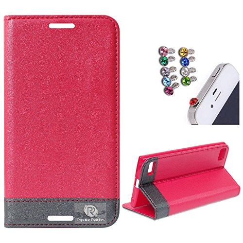 DMG BlackBerry Z3 Flip Cover, DMG PRaiders Premium Magnetic Wallet Stand Cover Case for BlackBerry Z3 (Pink) + 3.5mm Jewel Dust Jack