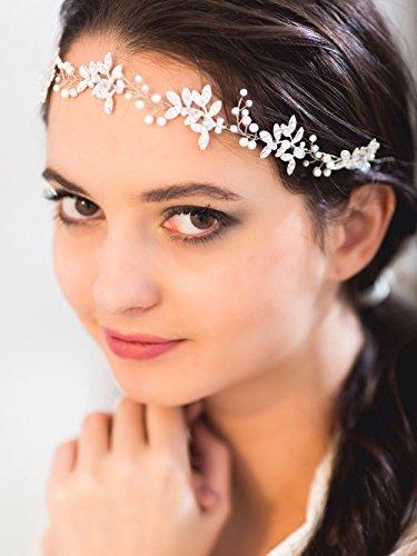 Handmadejewelrylady - Hochzeits-Kristall-Strass-Stirnband, Haarschmuck im Weinrebenstil, Damenkopfschmuck für Abendfeiern - 3