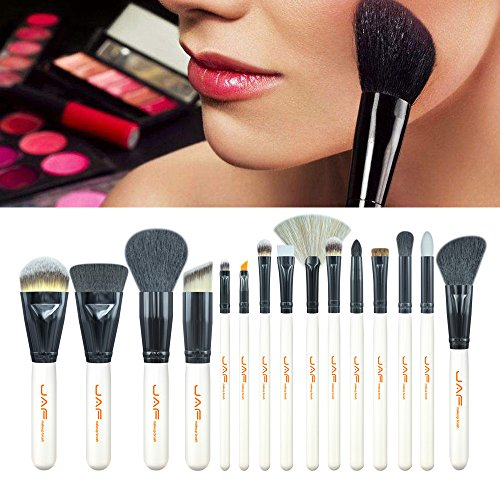 ESAILQ 15Pcs Makeup Brush Kit Wood Professional Cosmetic Set Foundation Brush Powder Brush Eyeshadow Brushes Noir (Noir)
