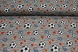 Pinidi Stoff/Meterware ab 25cm / Ökotex 100 / Jersey Hilco Fußball blau orange auf grau