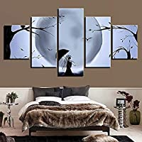 JWLSDT 5 Canvas Paintings Black And White Poster Wall Decor Picture Print Moon Tree And Bird Umbrella Girl Night View Framed