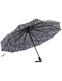 EOZY Parapluie Pliant Ultra Large 2 Personnes Ouverture Fermeture Automatique Anti-UV Anti-Pleuvoir Acier Inoxydable (Zébré)