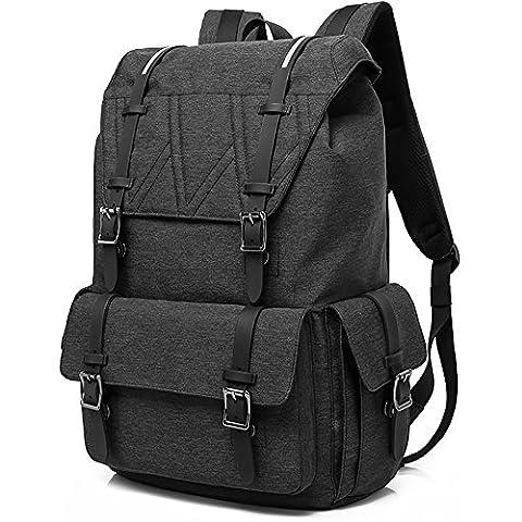 Sac à Dos Loisir avec Compartiment pour Ordinateur Portable 17 Inch Multifonctionnel Backpack Homme ,Noir