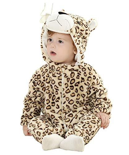 Amooy Dizi Baby Strampler Tier Spielanzug Flanell Jumpsuit Winter Bekleidung Babybekleidung (Leopard, 59 cm (70)) -