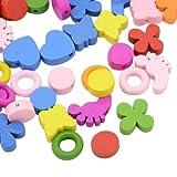 Pandahall,Abalorios de madera mixtos, formas mixtas, tenido, color mezclado,Precio por 1 Caja, 13~21x14~18x4~6 mm, agujero: 2~8 mm; 80 piezas / caja