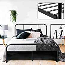 Coavas Double Bed Frame 4ft 6 Bed Frame with 2 headboard Metal Bed Frame Black