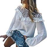 NPRADLA 2018 Herbst Winter Damen Shirt Casual Schatz Crochet Spitze Top Bluse