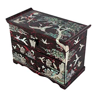 Mother of Pearl Crane and Pine Tree in Red Mulberry Paper Design Wooden Jewellery Mirror Trinket Keepsake Treasure Drawer Lacquer Box Case Chest Organizer