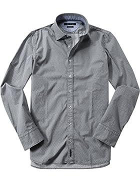 Marc O'Polo Herren Hemd Baumwolle & Mix Oberhemd Gemustert, Größe: XL, Farbe: Grün