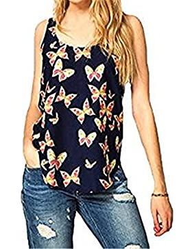 SKY Beautiful to wear it !!!Mujeres Mariposa gasa de la impresión de la camiseta Sleeveless Chiffon Tank Top Shirts...