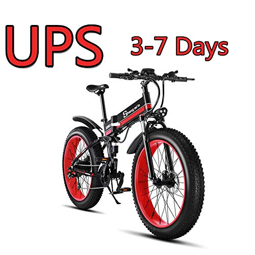 Shengmilo 26 Zoll elektrisches Schneerad, 1000W 48V 13ah faltendes Fettes Reifen-Mountainbike MTB Shimano 21 Geschwindigkeit E-Fahrrad Pedal Assist Hydraulische Scheibenbremse (Hydraulische Pedale)
