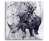 Rhino Art Picture 60 x 60 cm Art Picture Photo Canvas Direct from Artist on Stretcher Frame - Paul Sinus Art - amazon.co.uk