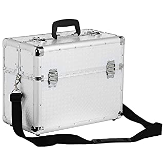 Popamazing Lockable Aluminium Case Tool Box Storage Case for Electrician, Technician and Engineer Four Tray Travel Case