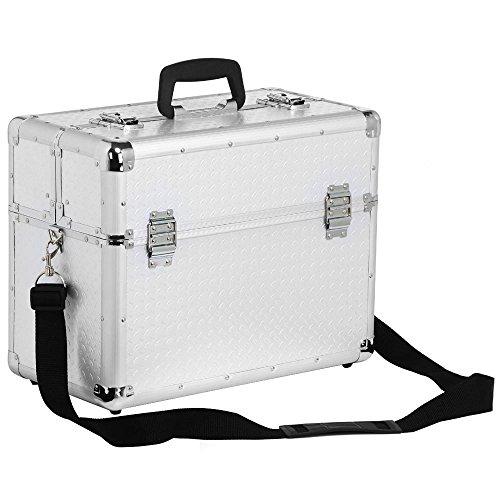 Yahee Werkzeugkoffer Angelkoffer Koffer abschließbar leer mit Tragegurt Schlüssel, Silber