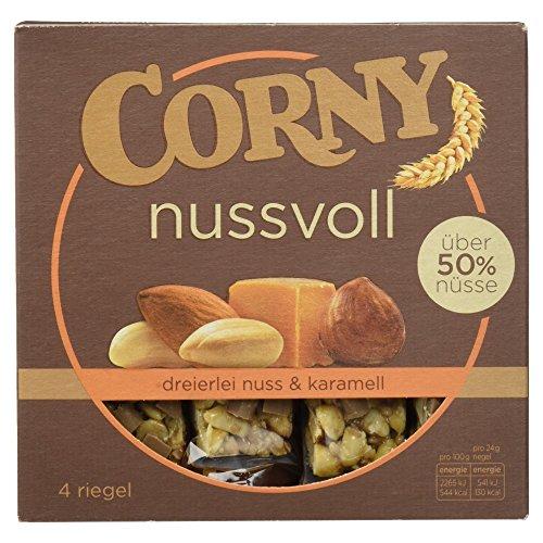 CORNY nussvoll Dreierlei Nuss, Nussriegel mit über 50{852d57fb15664d5b1159a50763f5adaee5a5b6b67b4e794ca49c79b44314f614} Nüssen, 96g Schachtel mit 4 Riegeln