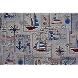 PRESTIGE TELAS Náutico rojo y azul Costa botes algodón de la impresión tela para tapizar Cortina/Cojines - POR METRO