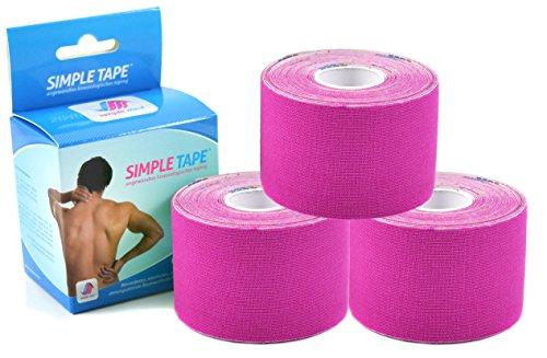3x Sparpack Original SIMPLE MED PREMIUM Kinesiologie Tape Rolle PINK - Physio tape für Sport, Medizin und Freizeit - 100% Baumwolle, wasserresistent, optimierte Klebeformel. Rolle: 5m x 5cm