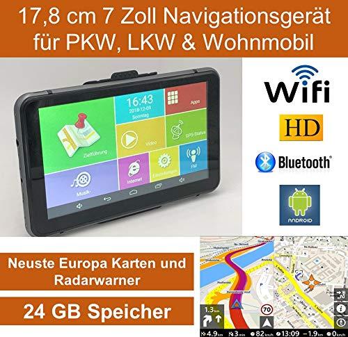 """17,8cm 7"""" Zoll,Android Navigationsgerät,Navigation,WiFi,Neuste EU Karten,Radarwarner,Tablet PC,Internet,Wohnmobil,LKW,PKW,24GB Speicher,HD,AV-IN,Bluetooth,Kostenlose Kartenupdate,GPS"""