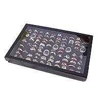 Malloom® Jewelry Rings Display Tray Velvet 100 Slot Case Box Jewelry Storage Box (Black)