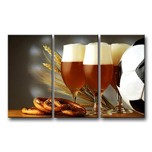 3Panel Wand-Kunst Bild Essen Gläser Bier Dark Schaumstoff Brezen Tisch Ball Bilder Prints auf Leinwand Lebensmittel die Decor Öl für Home Moderne Dekoration Print