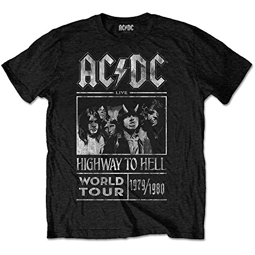 ACDC Herren T-Shirt Highway to Hell World Tour 1979/80, Schwarz Black, Large