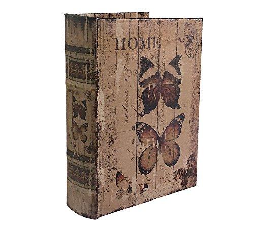 Hohles Buch mit Geheimfach Home Schmetterling Buchversteck Antik-Stil 20cm