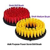 oxoxo Bohrer-Bürste, Soft-Stiff Power Scrubbing Pinsel Drill Attachment für die Reinigung der Dusche Dosen Fliesen Fugen Teppich Polsterung, Beton Stein