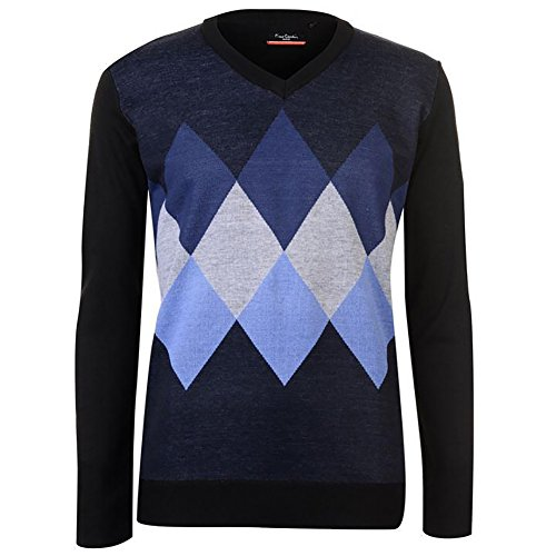 4522d43ad8c373 Pierre Cardin Mens New Season Argyle Knitted Jumper Crew Neck V Neck and Quarter  Zip (Large, Navy/Blue) - Buy Online in Oman.   Apparel Products in Oman ...