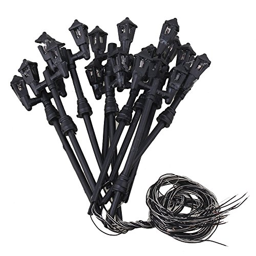 BQLZR 10PCS Black HO 1/87 Scale train layout model lamppost Double Heads Tower shape